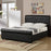 Full Button Tufted Bed With Rolled HB And FB In Faux Leather, Black