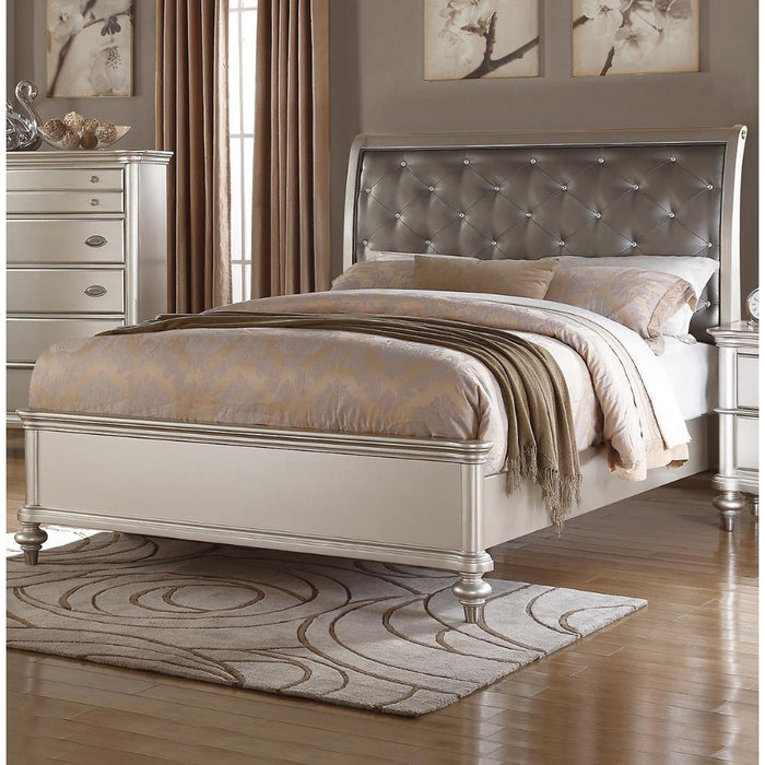 Wooden Queen Bed With Silver PU Tufted HB, Shinny Silver Finish