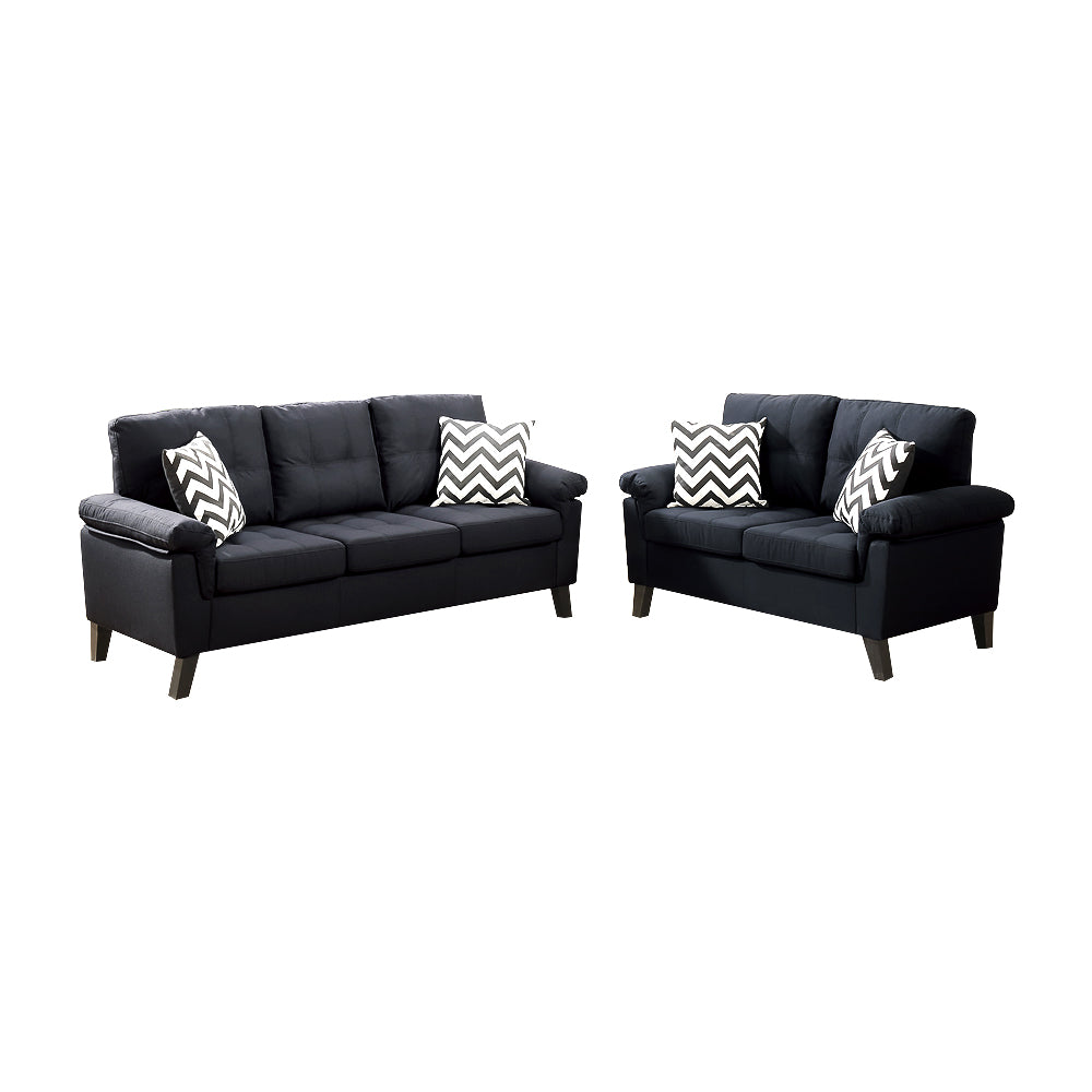 Polyfiber 2 Pieces Sofa Set With Accent Pillows Black