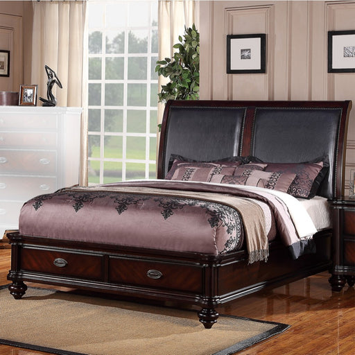 Wooden E.King Bed With Black PU HB & 2 Under Bed Drawers Dark Wood Finish
