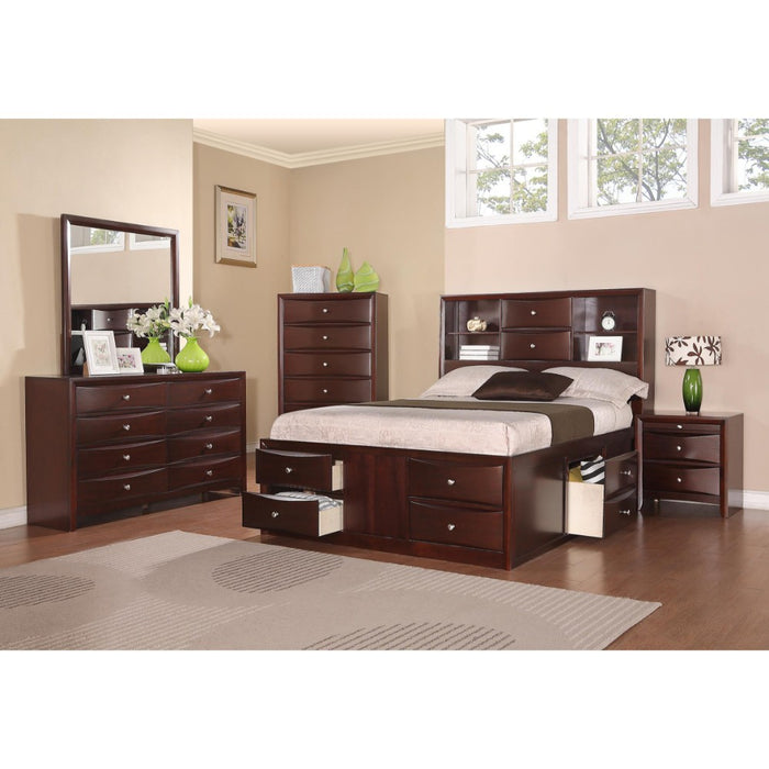 Wooden E.King Bed With Display Shelves & Under Bed Drawers Dark Brown Finish
