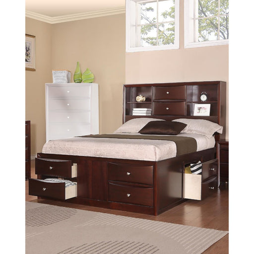 Wooden Queen Bed With Display Shelves & Under Bed Drawers,Dark Brown