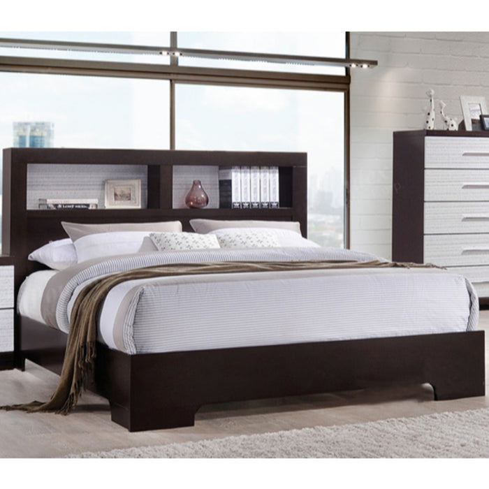 Wooden Queen Bed With Book Case, White And Brown Finish