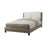 Wooden Queen Bed With White PU Head Board, Gray