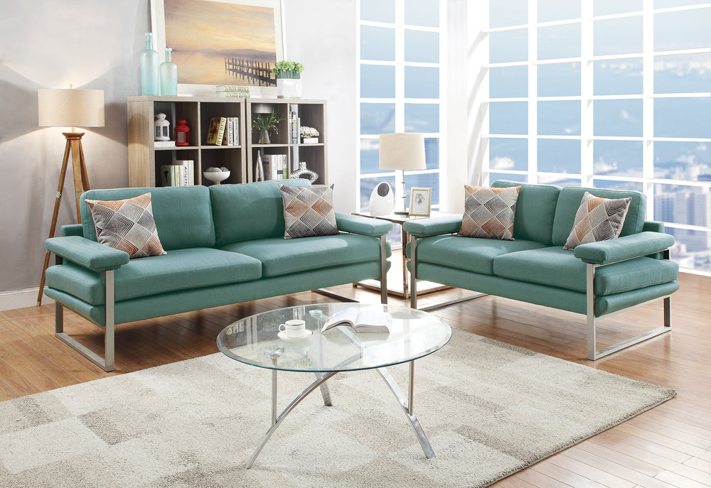 Polyfiber 2 Pieces Sofa Set In Dark Green