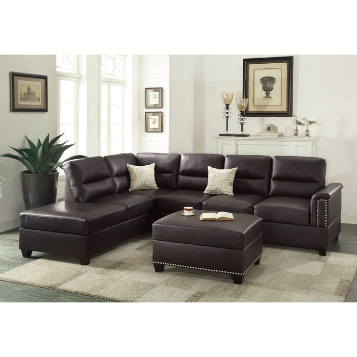Leather 3 Pieces Sectional Set In Espresso Brown