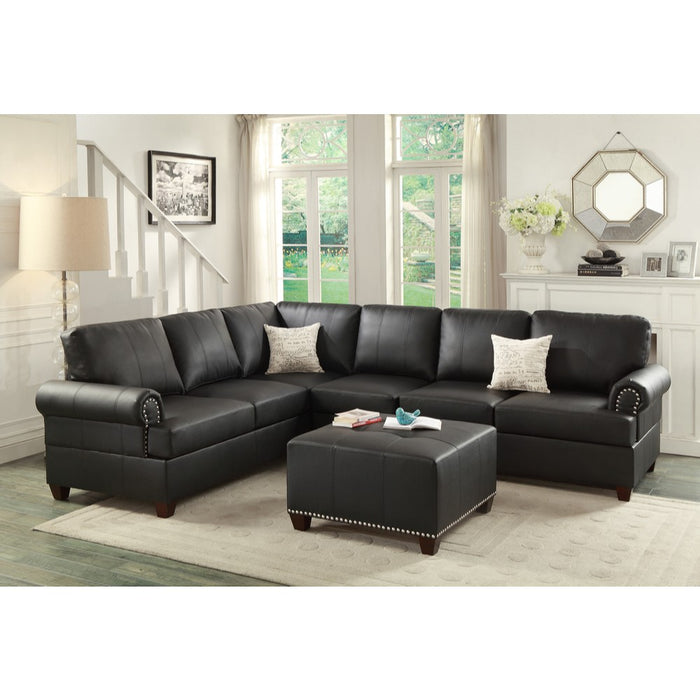 Leather 2 Pieces Reversible Sectional In Black
