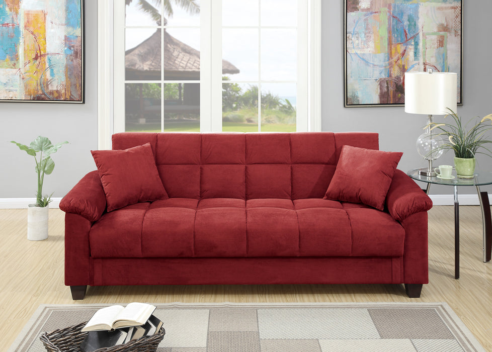 Microfiber Adjustable Sofa With 2 Pillows In Red