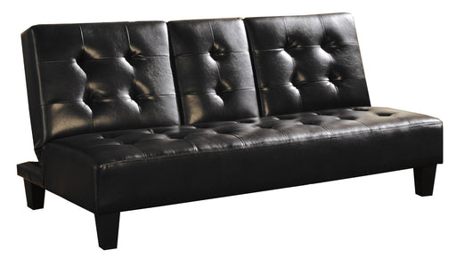 Faux Leather Upholstered Futon Sofa Bed In Black