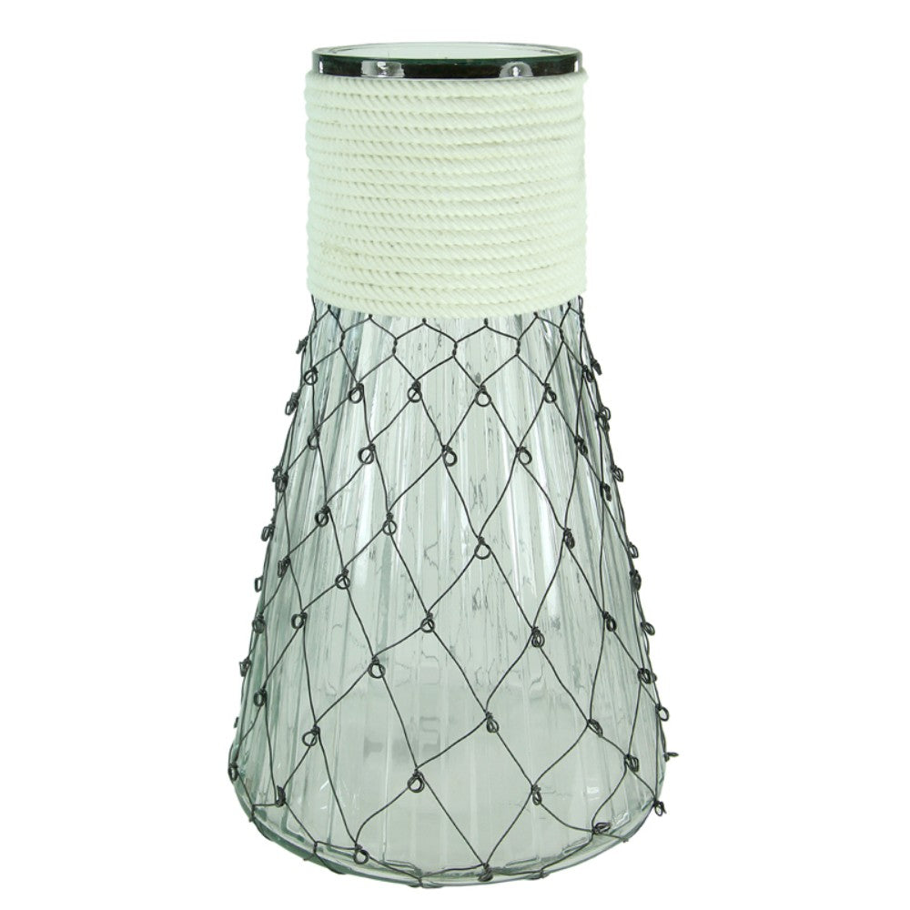 Clear Glass Vase With Chicken Wire, White