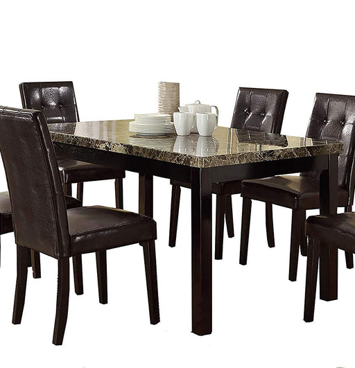 Faux Marble & Pine Wood Dining Table, Brown