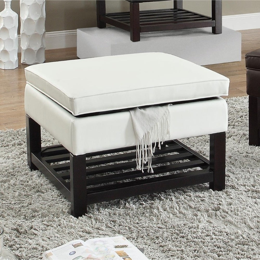Wooden Base Ottoman With Storage, White And Black