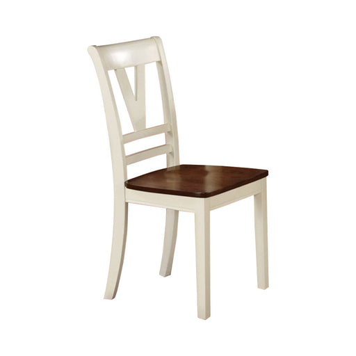 Wooden Two-Tone Finish Dining Chair, White And Brown