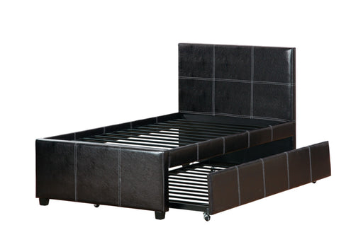 Twin Bed With Trundle Espresso Faux Leather,Brown