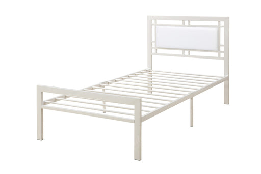 Metal Frame Twin Bed With Leather Upholstered Headboard, White