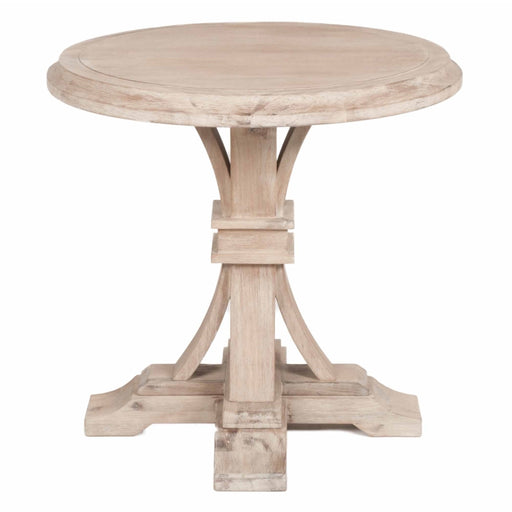 Round Wooden Accent Table, Stone Wash Brown