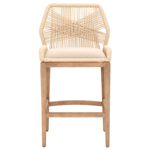 Wooven Upholstered Loom Barstool, Cream