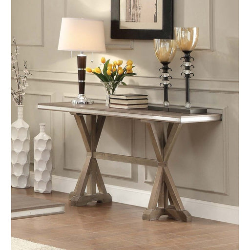 Wooden Rectangular Sofa Table With X-Base Double Pedestal, Brown