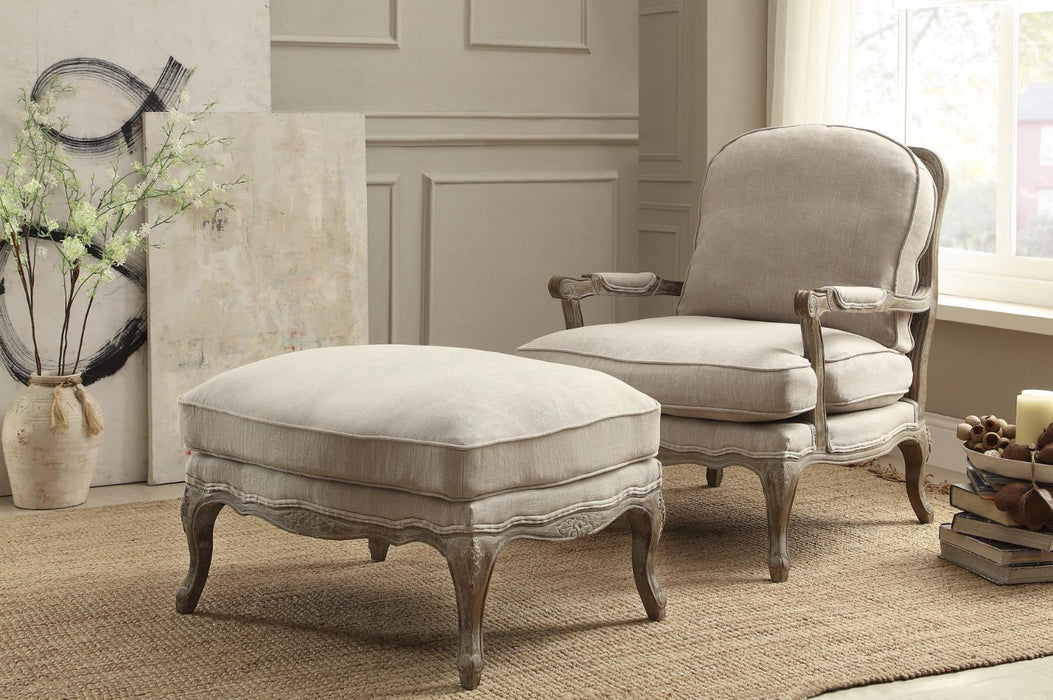 Wooden Ottoman With Reversible Cushion Seat In Cream
