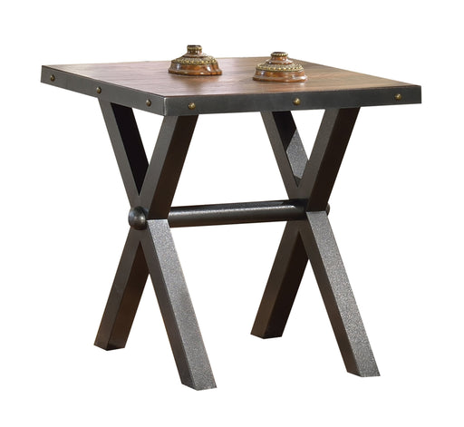 Wooden End Table with Metal X Shape Legs, Cherry Brown