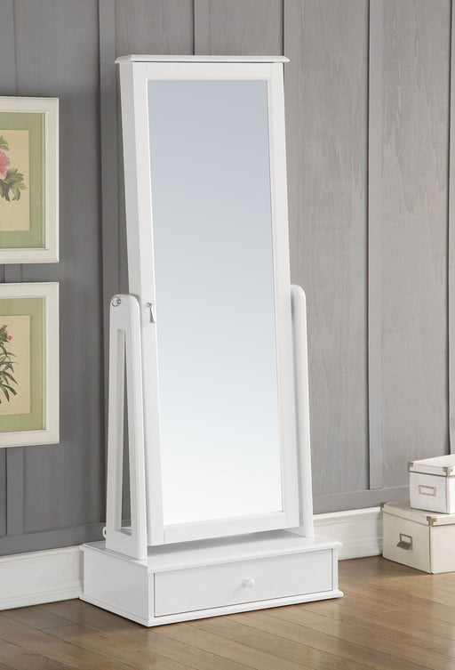 Wooden Jewelry Armoire With Floor Mirror, White