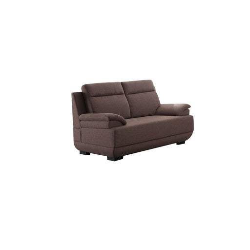 Transitional Style Fabric Loveseat, Dark Brown