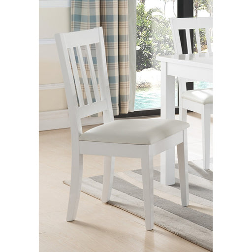 Wooden Dining Chair With Slatted Back, White