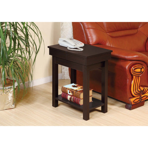 Wooden Chairside Table With Lower Shelf, Red Cocoa Brown