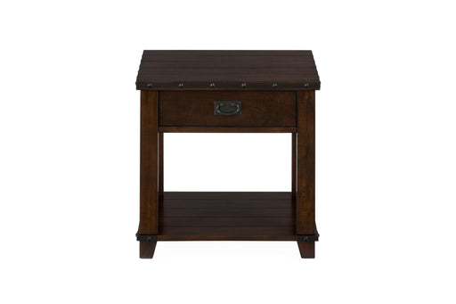 Wooden End Table With One Drawer And Bottom Shelf, Brown
