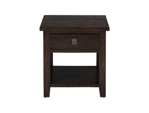 Wooden End Table with Rough-Hewn Saw Marks, Chocolate Brown