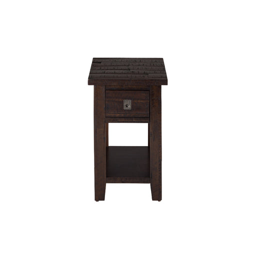 Wooden Chairside Table with Drawer And Bottom Shelf, Chocolate Brown