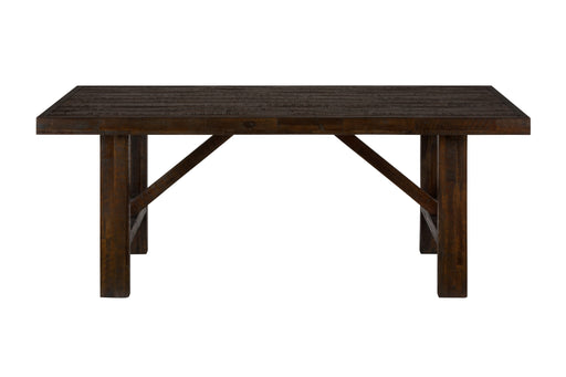 Wooden Dining Table with Rough-Hewn Saw Marks, Chocolate Brown