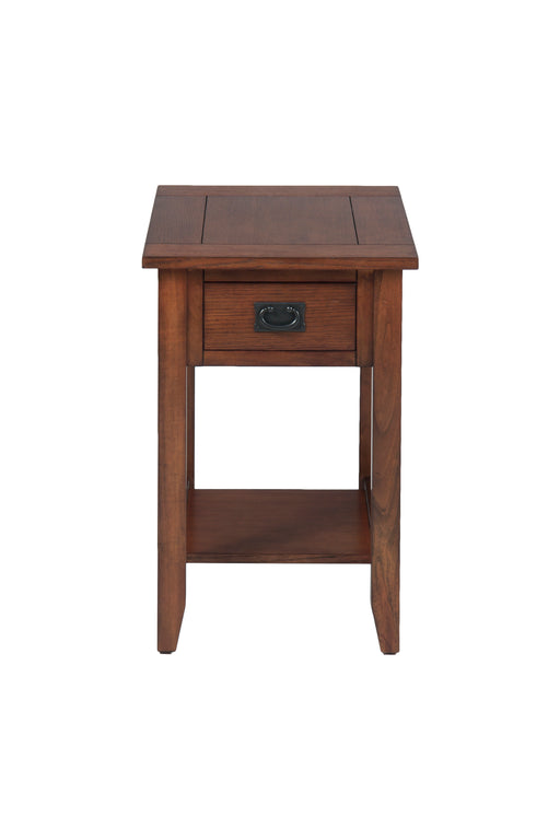 Wooden Chairside Table With Antique Drawer Handle, Dark Brown