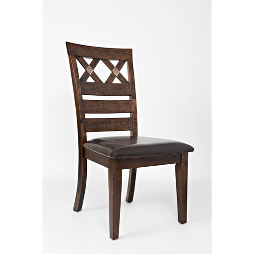 Wooden Dining Chair With Upholstered Seat and Designer Back, Set of two, Brown