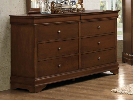 Wooden Dresser With 6 Drawers In Cherry Brown