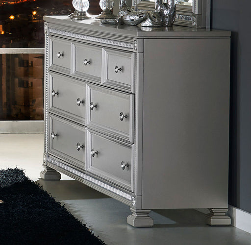 Wooden Dresser With 7 Storage Drawers, Silver