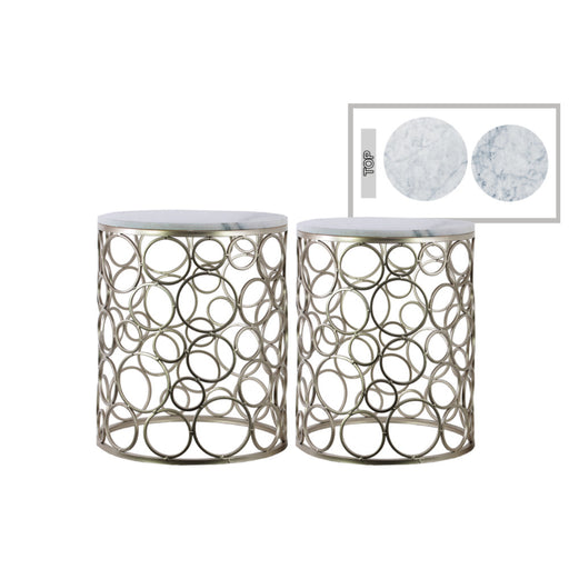 Round Metal Nesting Accent Table With Marble Top, Set of 2, Champagne Silver