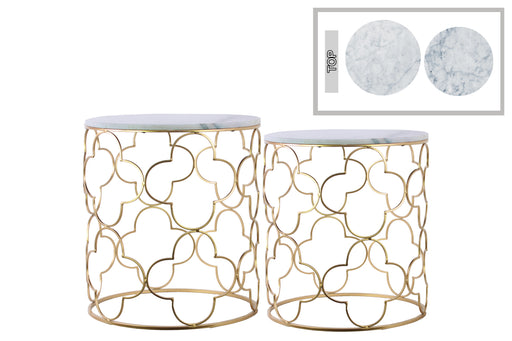 Metal Nesting Accent Table With Marble Top, Set of 2, Champagne Gold