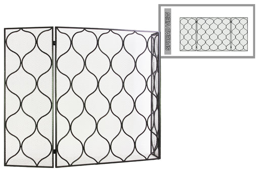 Metal Hinged Fireplace Screen With Quatrefoil Lattice Pattern, Gunmetal Gray