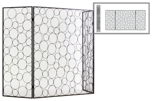 Random Circle Designed Metal Hinged Fireplace Screen, Gunmetal Gray