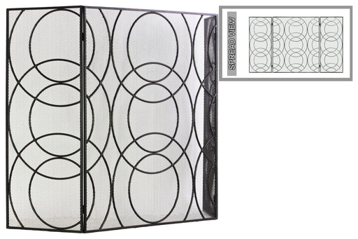 Metal Hinged Fireplace Screen With Circle In Circle Pattern, Gunmetal Gray