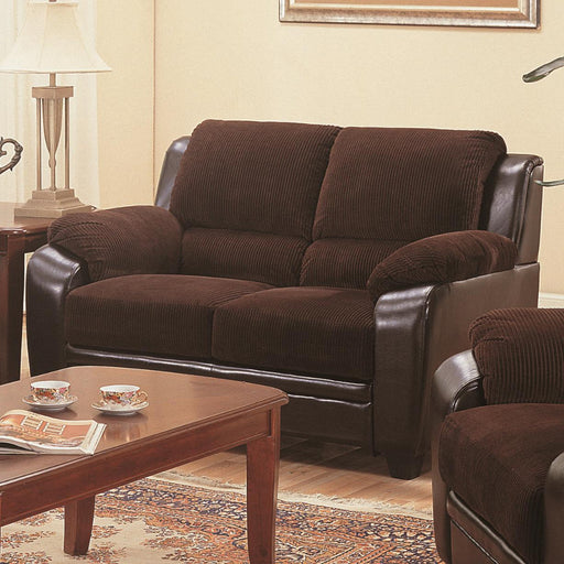 Transitional Wood/Corduroy/Leatherette Loveseat, Chocolate & Brown