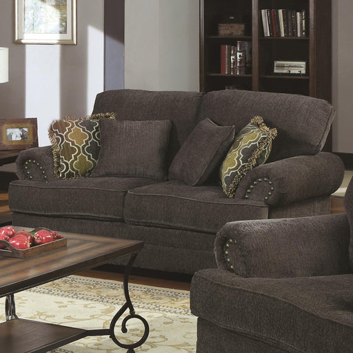 Transitional Wood & Chenille Loveseat With Plush Rolled Arms, Gray