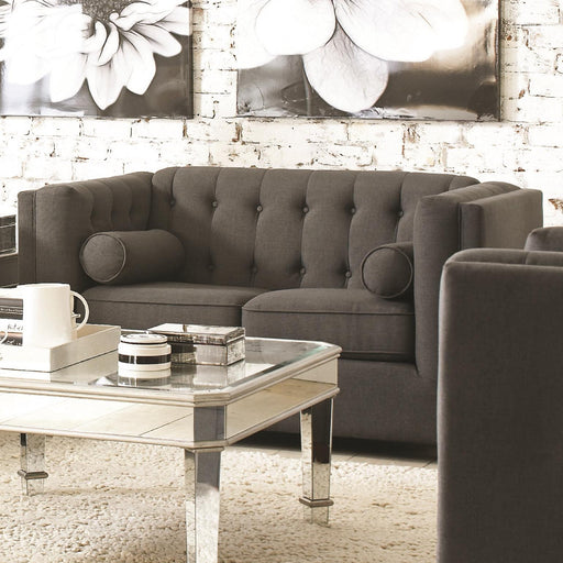 Transitional Wood & Linen Loveseat With Tufted Back, Gray
