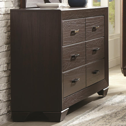 Wooden Transitional Six Drawer Dresser, Dark Cocoa Brown