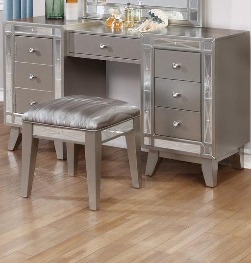 Wooden Set of Vanity and Stool with Mirrored Accents, Mercury Silver