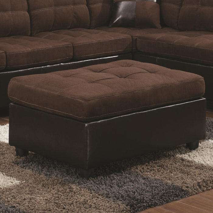 Transitional Faux Leather and Wood Ottoman With Tufting, Chocolate Brown