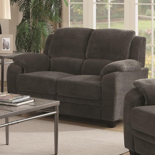 Transitional Wood & Chenille Loveseat With Cushioned Armrests, Gray