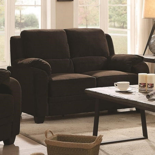 Transitional Chevron Velvet Fabric/Wood Loveseat With Cushioned Armrests, Brown