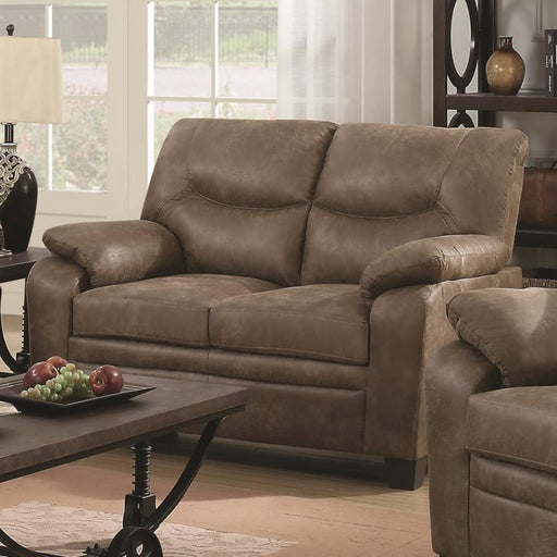Transitional Microfiber Fabric & Wood Loveseat With Cushioned Armrests, Brown